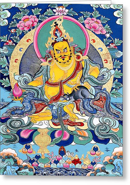 Hindu Goddess Greeting Cards - Yellow Jambhala 31 Greeting Card by Lanjee Chee