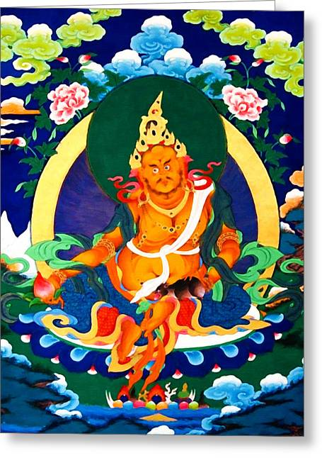 Recently Sold -  - Tibetan Buddhism Greeting Cards - Yellow Jambhala 32 Greeting Card by Lanjee Chee
