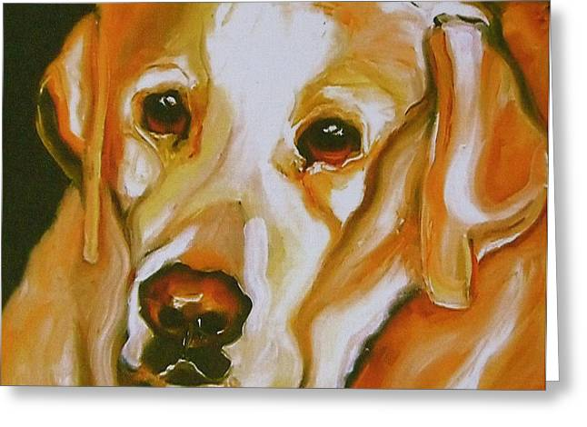Puppies Print Greeting Cards - Yellow Lab Amazing Grace Greeting Card by Susan A Becker