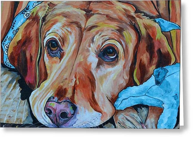 Dog Close-up Paintings Greeting Cards - Yellow Lab Greeting Card by Patti Schermerhorn