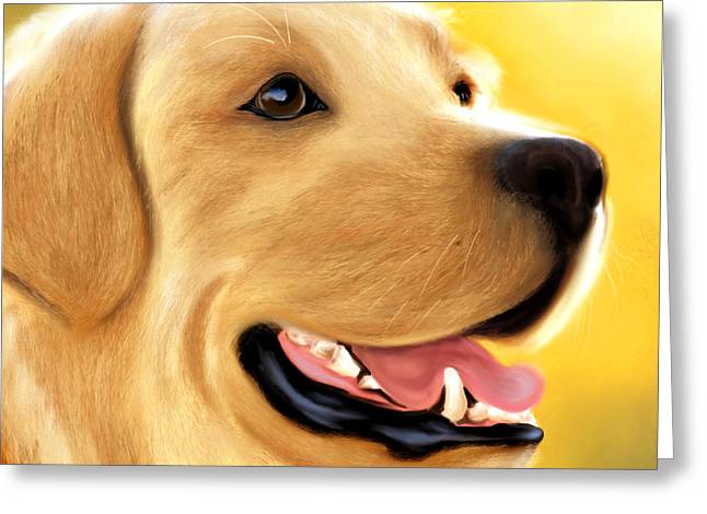 Dogs Digital Greeting Cards - Yellow Lab Portrait Greeting Card by Becky Herrera