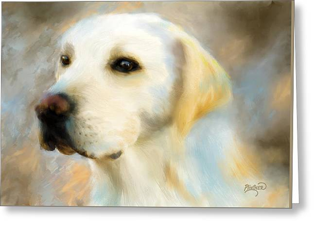 Retriever Prints Digital Art Greeting Cards - Yellow Lab Portrait Greeting Card by Patricia Lintner