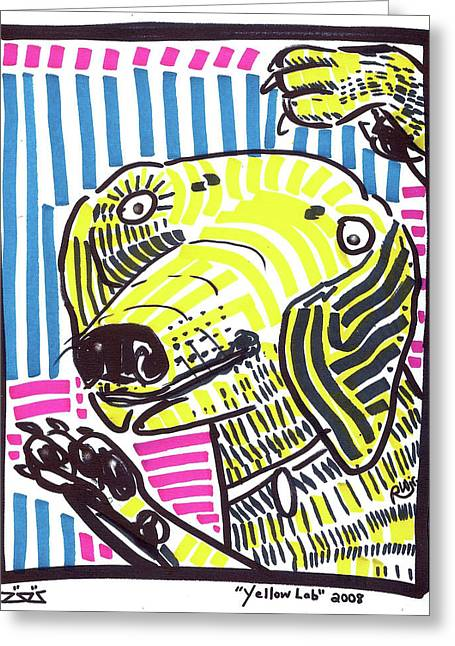 Urban Images Drawings Greeting Cards - Yellow Lab Greeting Card by Robert Wolverton Jr