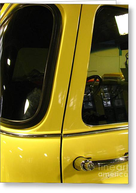 Car Show Greeting Cards - Yellow Lady Abstract Greeting Card by Peter Piatt