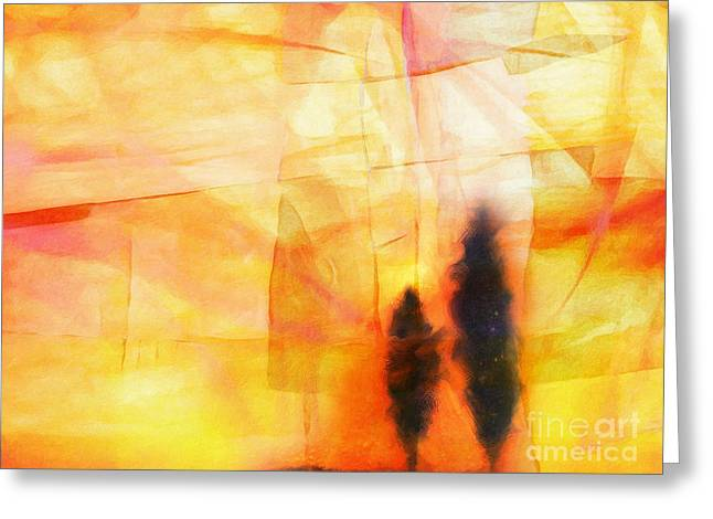 Yellow Lightscape Greeting Card by Lutz Baar