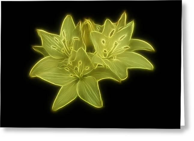 Yellow Lilies On Black Greeting Card by Sandy Keeton