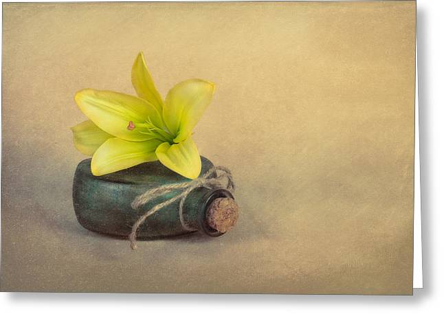 Yellow Lily And Green Bottle Greeting Card by Tom Mc Nemar