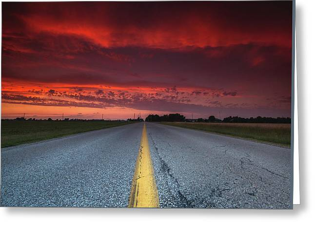 Yellow Line Sunset Greeting Card by Cale Best