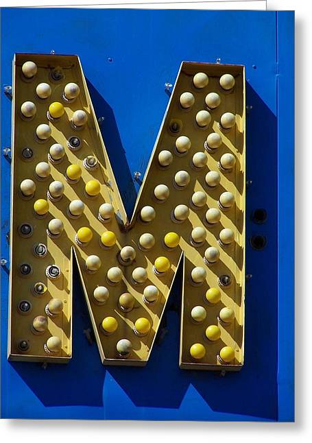 Roadside Art Greeting Cards - Yellow M Greeting Card by David Gianfredi