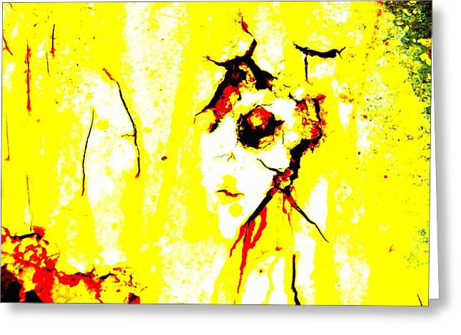 Color Enhanced Greeting Cards - Yellow Man Greeting Card by David Coleman