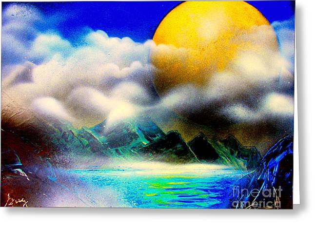 Yellow Moon 4682 E Greeting Card by Greg Moores
