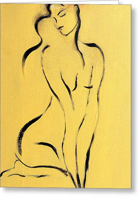 Yellow Line Drawings Greeting Cards - Yellow Nude with Pink Flower Greeting Card by Susan Adams