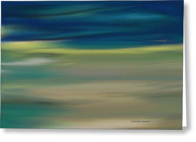 Beige Abstract Greeting Cards - Yellow on the Horizon Greeting Card by Lenore Senior