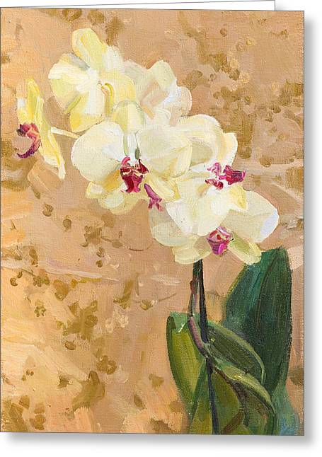 Flower Still Life Greeting Cards - Yellow orchid Greeting Card by Victoria Kharchenko