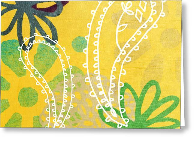 Barrel Mixed Media Greeting Cards - Yellow Paisley Garden Greeting Card by Linda Woods
