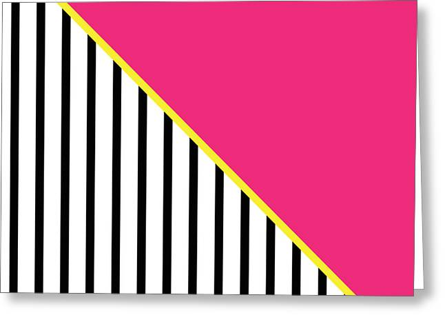 Yellow Pink And Black Geometric 2 Greeting Card by Linda Woods