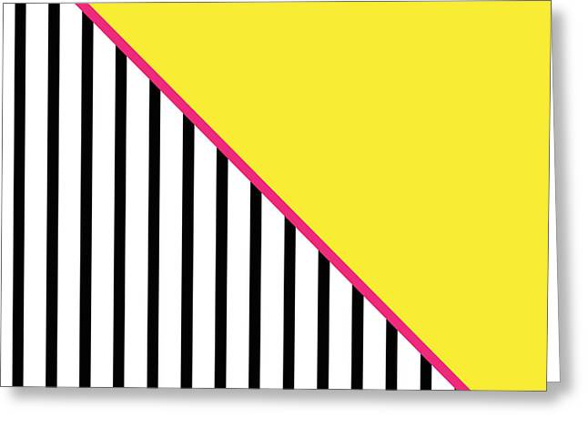 Yellow Line Greeting Cards - Yellow Pink And Black Geometric Greeting Card by Linda Woods