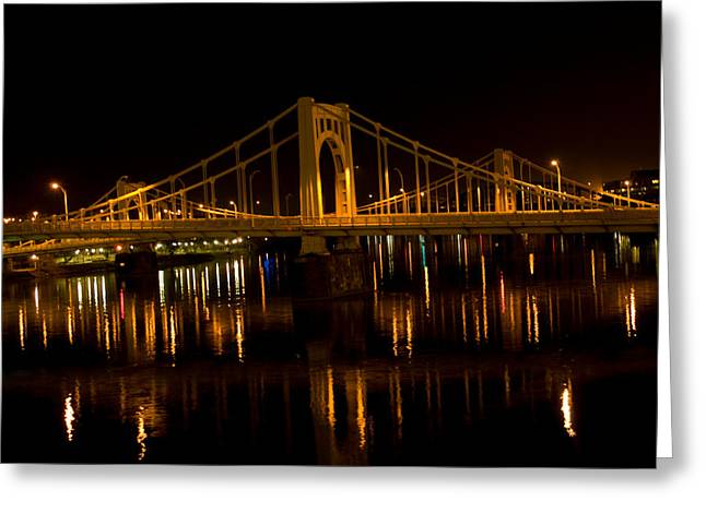 Pa Pyrography Greeting Cards - Yellow Pittsburgh Bridge at Night Greeting Card by Ilze Lucero