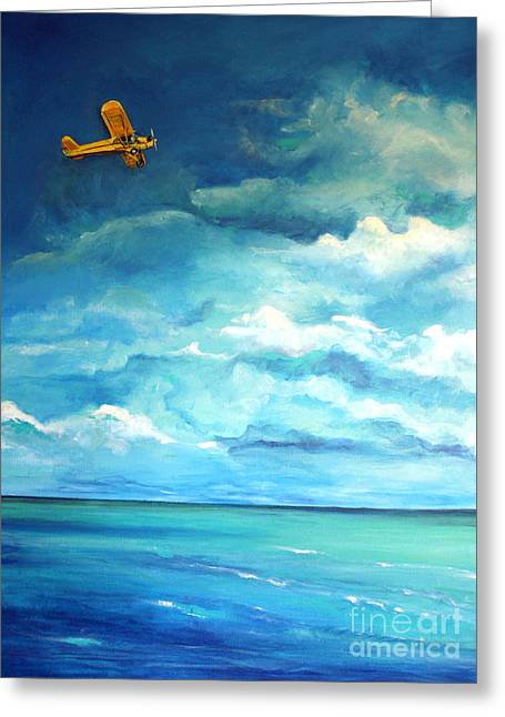 Piper Cub Greeting Cards - Yellow Plane Greeting Card by Valerie  Bruzzi