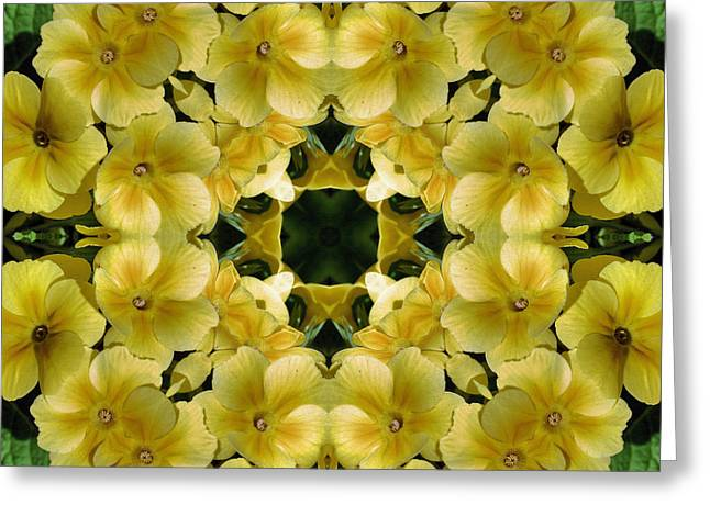 Primroses Mixed Media Greeting Cards - Yellow Primrose Kaleidoscope Greeting Card by Smilin Eyes  Treasures