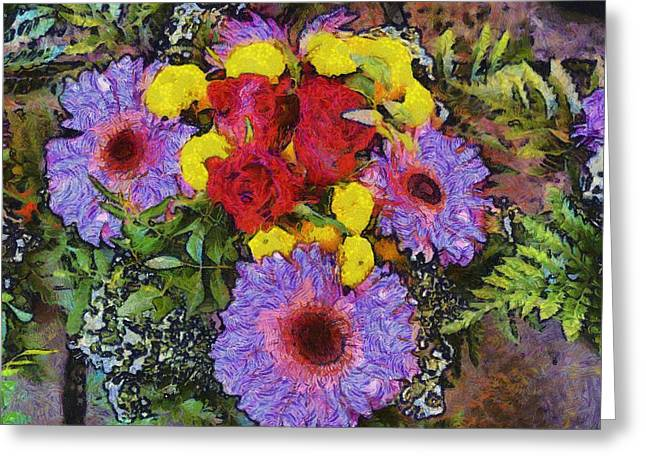 Oil Like Digital Greeting Cards - Yellow Purple Greeting Card by Dennis Wickerink