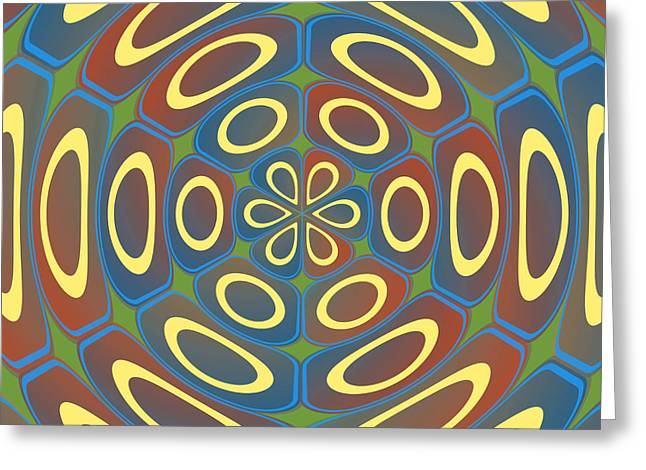 Algorithmic Abstract Greeting Cards - Yellow radial circles Greeting Card by Gaspar Avila