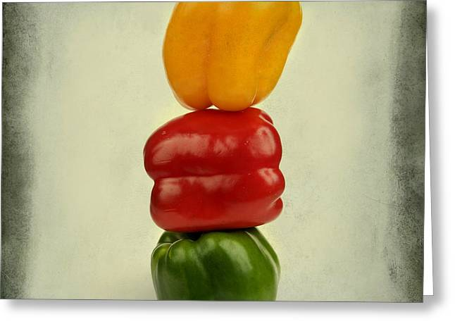 Capsicum Greeting Cards - Yellow red and green bell pepper Greeting Card by Bernard Jaubert