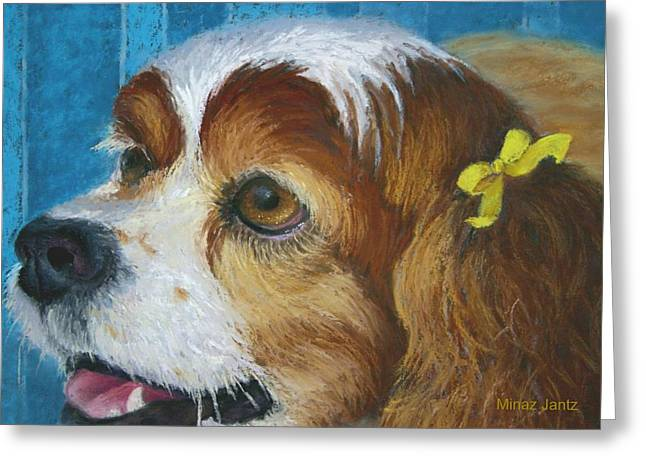 Spaniel Greeting Cards - Yellow Ribbons close-up Greeting Card by Minaz Jantz