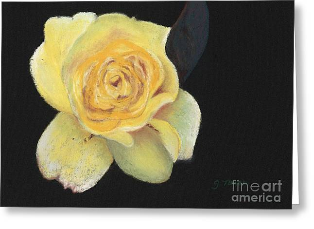 Rose Petals Pastels Greeting Cards - Yellow Rose Greeting Card by Ginny Neece