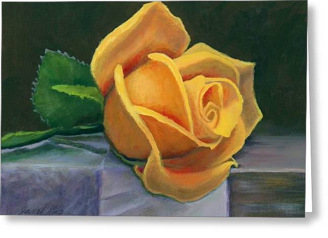 Yellow Rose Greeting Card by Janet King