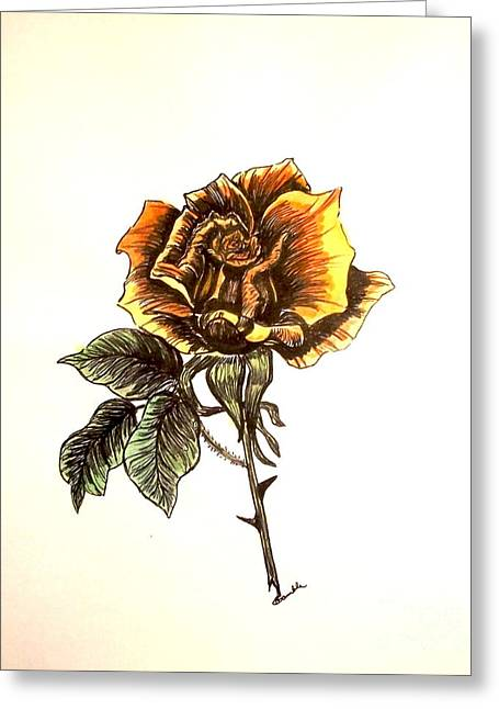 Yellow Rose Greeting Card by Nancy Rucker