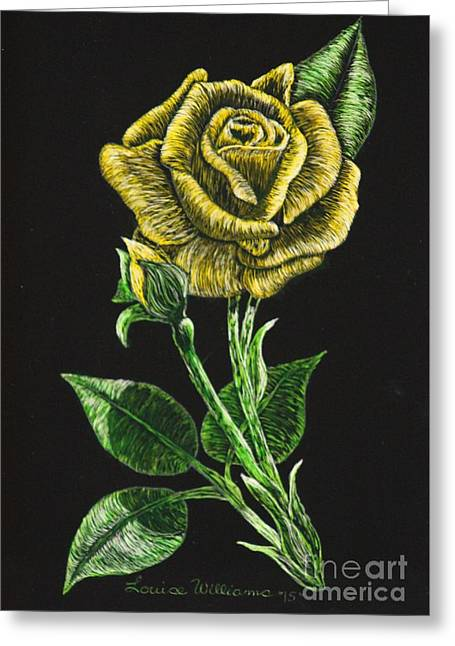 Black And White Photos Reliefs Greeting Cards - Yellow Rose of Carolina Greeting Card by Louise Williams