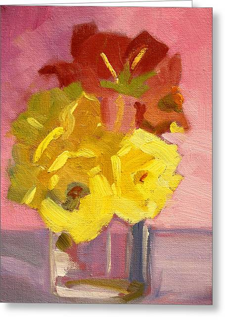 Red Abstracts Greeting Cards - Yellow Roses 2 Still Life Painting Greeting Card by Nancy Merkle