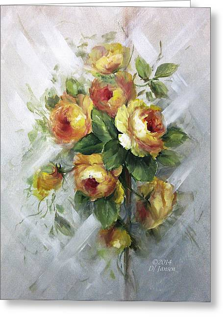 Recently Sold -  - Landscape Framed Prints Greeting Cards - Yellow Roses Greeting Card by David Jansen