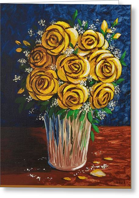 Table Cloth Greeting Cards - Yellow Roses Greeting Card by Katherine Young-Beck