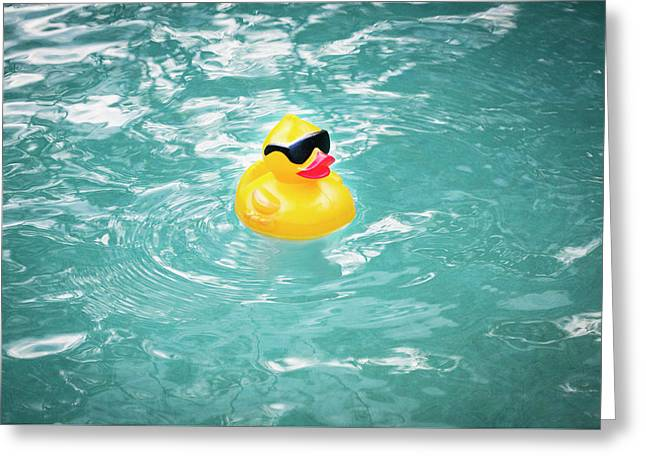 Yellow Rubber Duck Greeting Card by Rich Franco