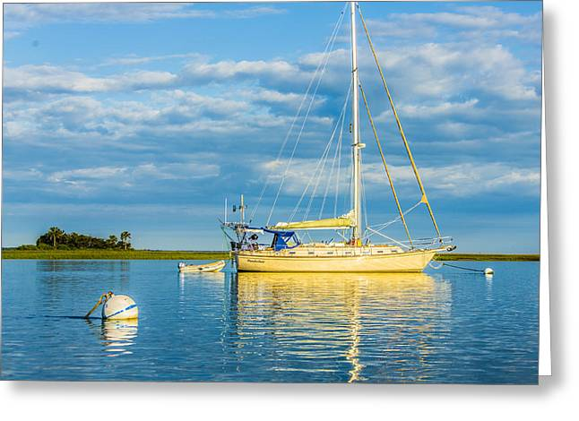 Fineartamerica Greeting Cards - Yellow Sail Boat and The Sea Greeting Card by Paula Porterfield-Izzo