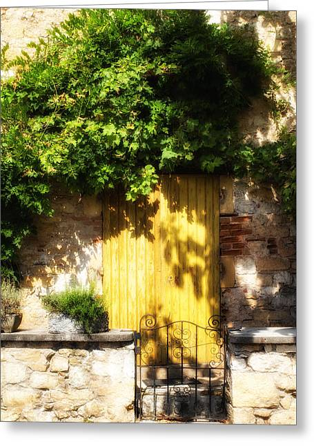 French Doors Greeting Cards - Yellow Shadowed Door with Vines Greeting Card by Georgia Fowler