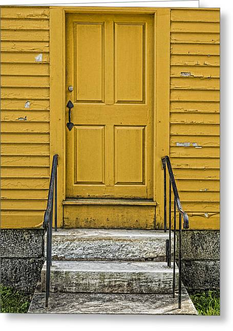Maine Farms Greeting Cards - Yellow Shaker Door Greeting Card by Stephen Stookey