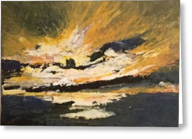 Pallet Knife Greeting Cards - Yellow sky up Greeting Card by Tom Harmon