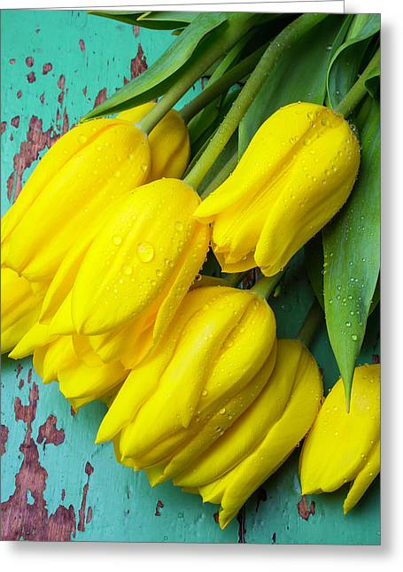 Yellow Spring Tulips Greeting Card by Garry Gay