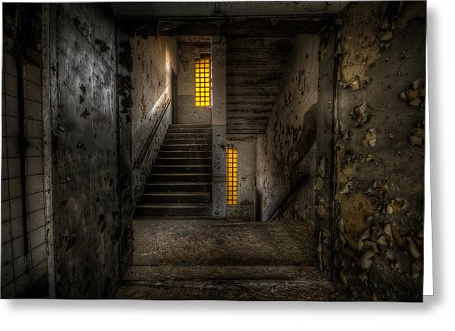 Manufacturing Digital Greeting Cards - Yellow stairs Greeting Card by Nathan Wright