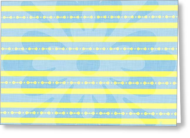 Striped Tapestries - Textiles Greeting Cards - Yellow Stripe Greeting Card by Sharon Johnston