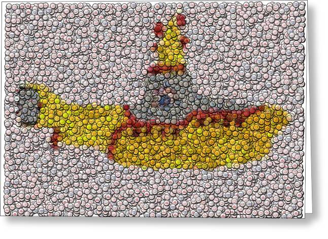 Bottlecaps Greeting Cards - Yellow Submarine Bottle Cap Mosaic Greeting Card by Paul Van Scott