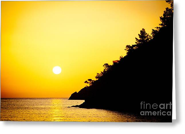 Blue Green Wave Greeting Cards - Yellow Sunrise seascape and sun Artmif  Greeting Card by Raimond Klavins