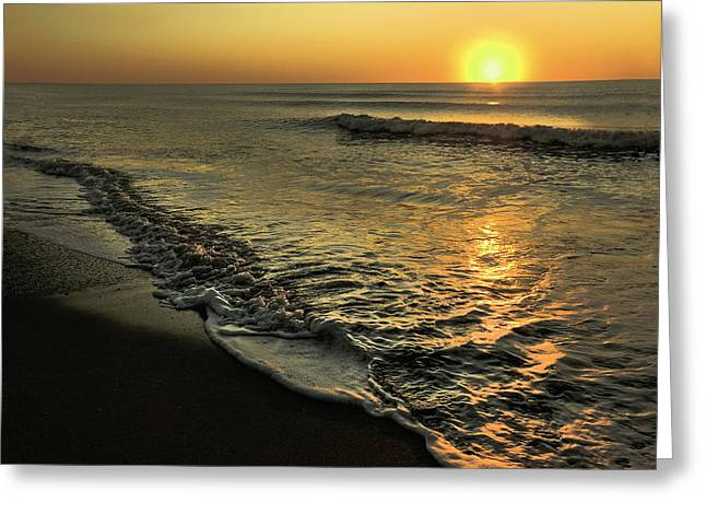 Yellow Sunset And Gentle Surf. Greeting Card by Gene Camarco