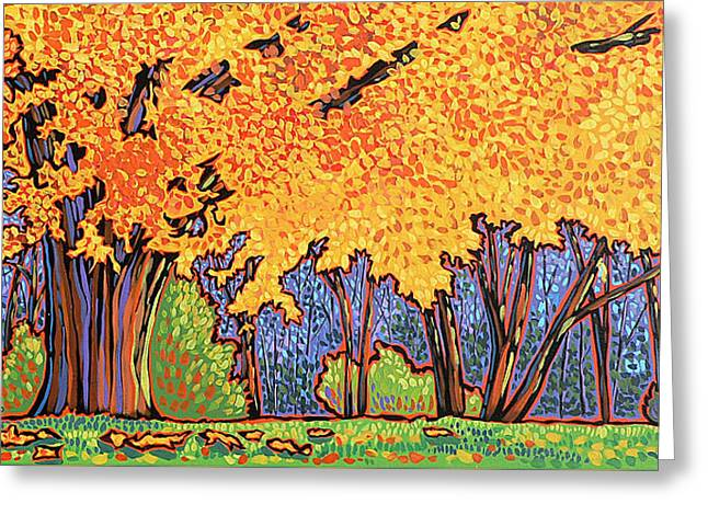 Yellow Tree Greeting Card by Nadi Spencer