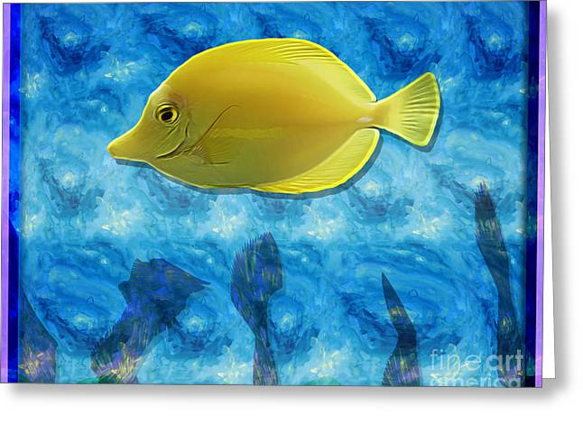 Aquatic Greeting Cards - Yellow Tropical Fish Greeting Card by Terry Weaver