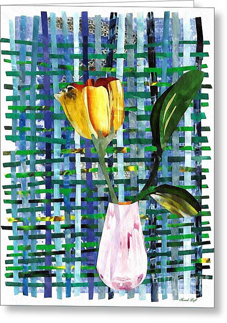 Yellow Tulip In A Pink Vase Greeting Card by Sarah Loft