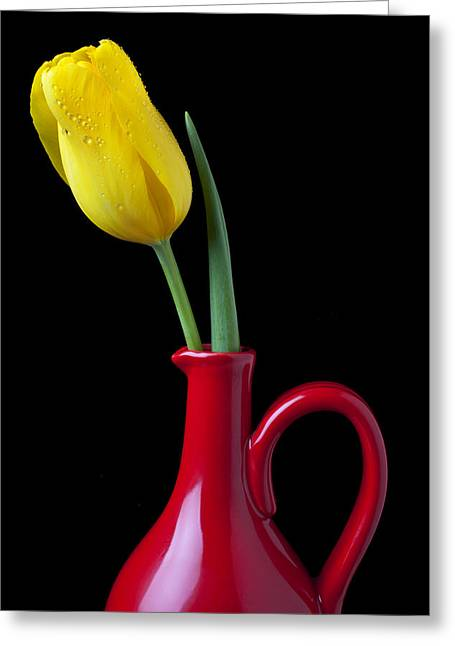 Pitcher Greeting Cards - Yellow tulip in red pitcher Greeting Card by Garry Gay